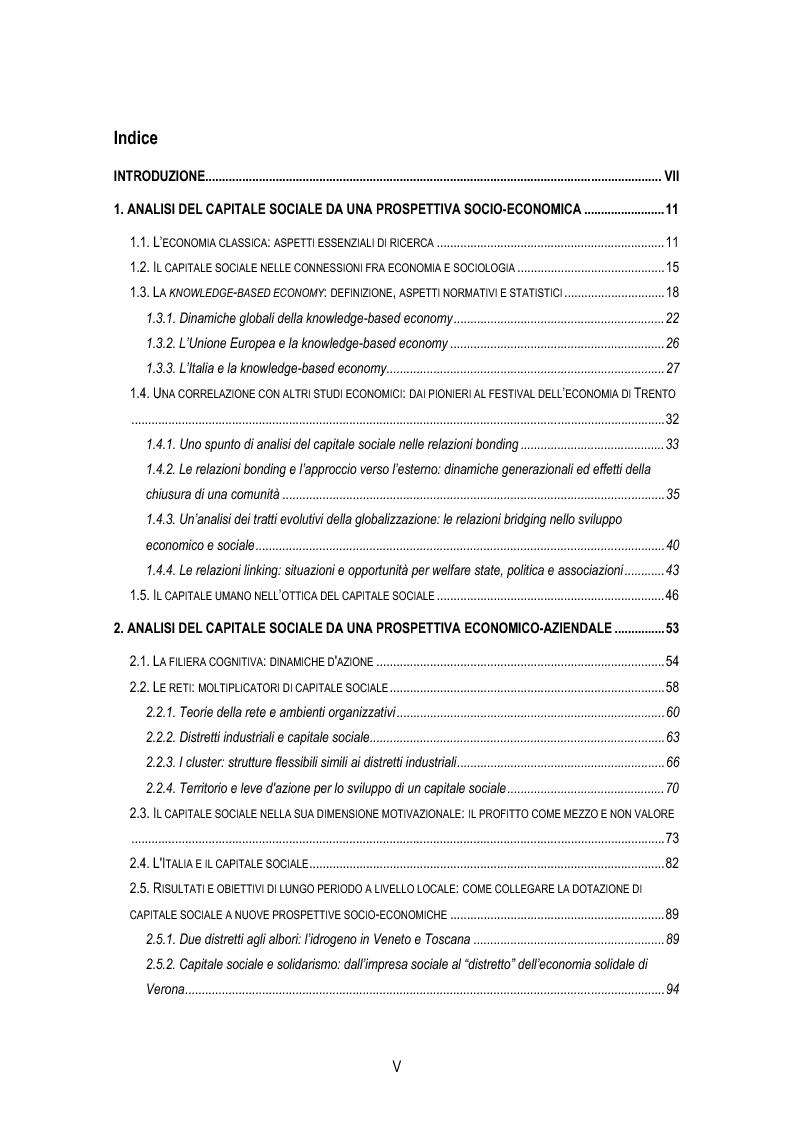 Indice della tesi: Analisi concettuale sul tema del capitale sociale tra studi economici e aziendali, Pagina 1