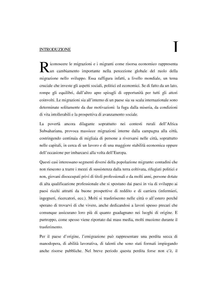 Anteprima della tesi: Le migrazioni come risorsa di sviluppo economico, Pagina 1