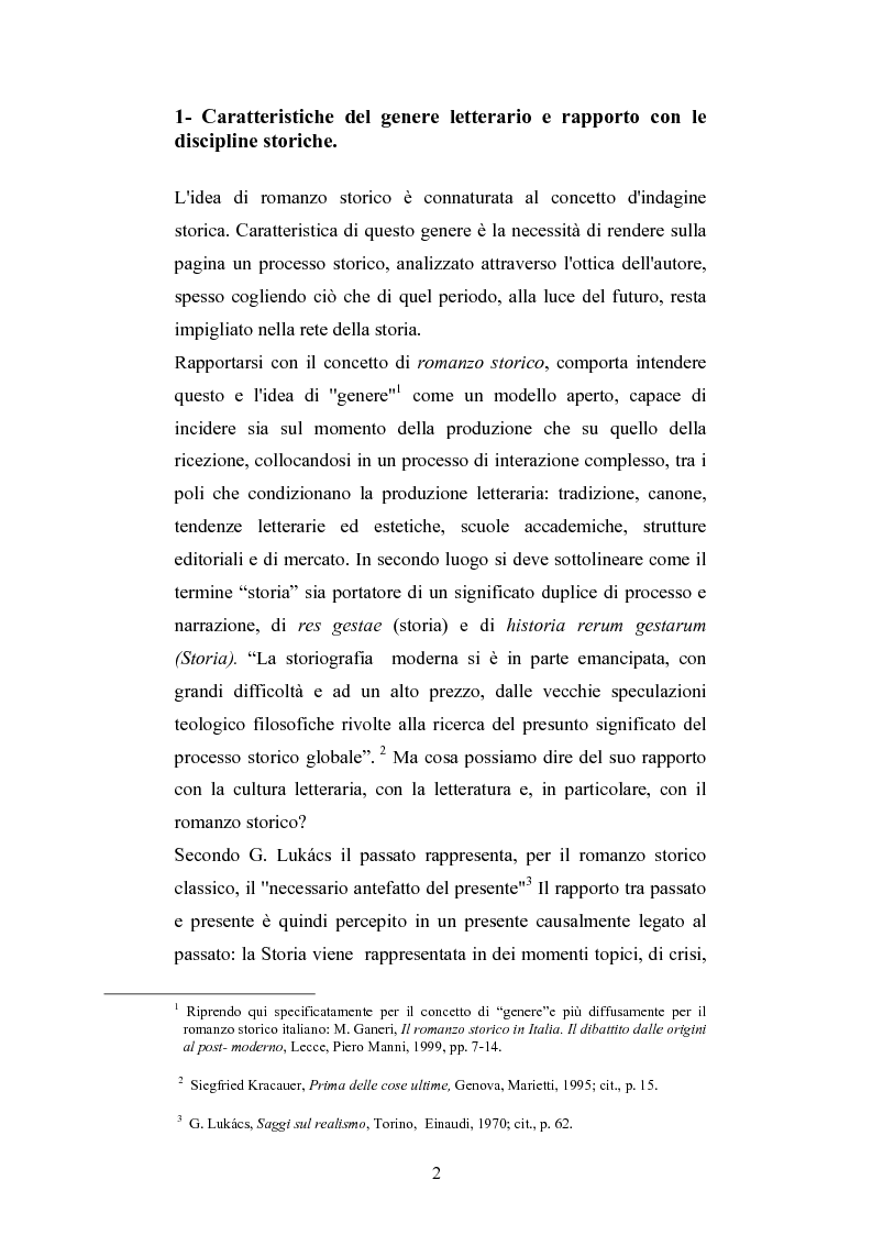 Anteprima della tesi: Storicità e narrazione. Situazioni e prospettive di un rapporto tra discipline in tre romanzi storici italiani., Pagina 1