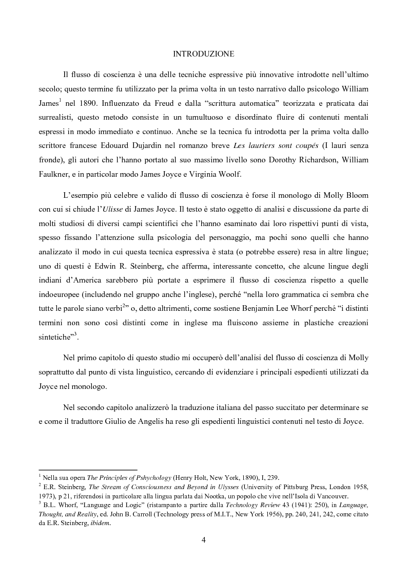 Anteprima della tesi: Il monologo di Molly e la sua traduzione italiana, Pagina 1