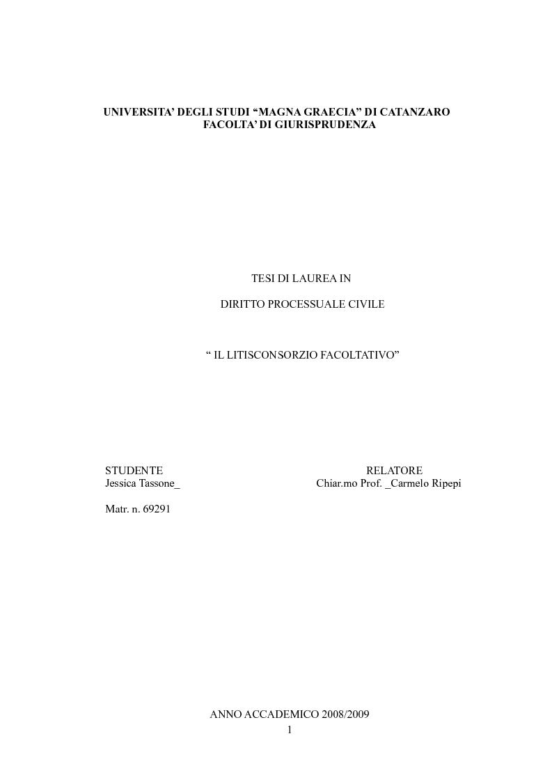 Anteprima della tesi: Il litisconsorzio facoltativo, Pagina 1