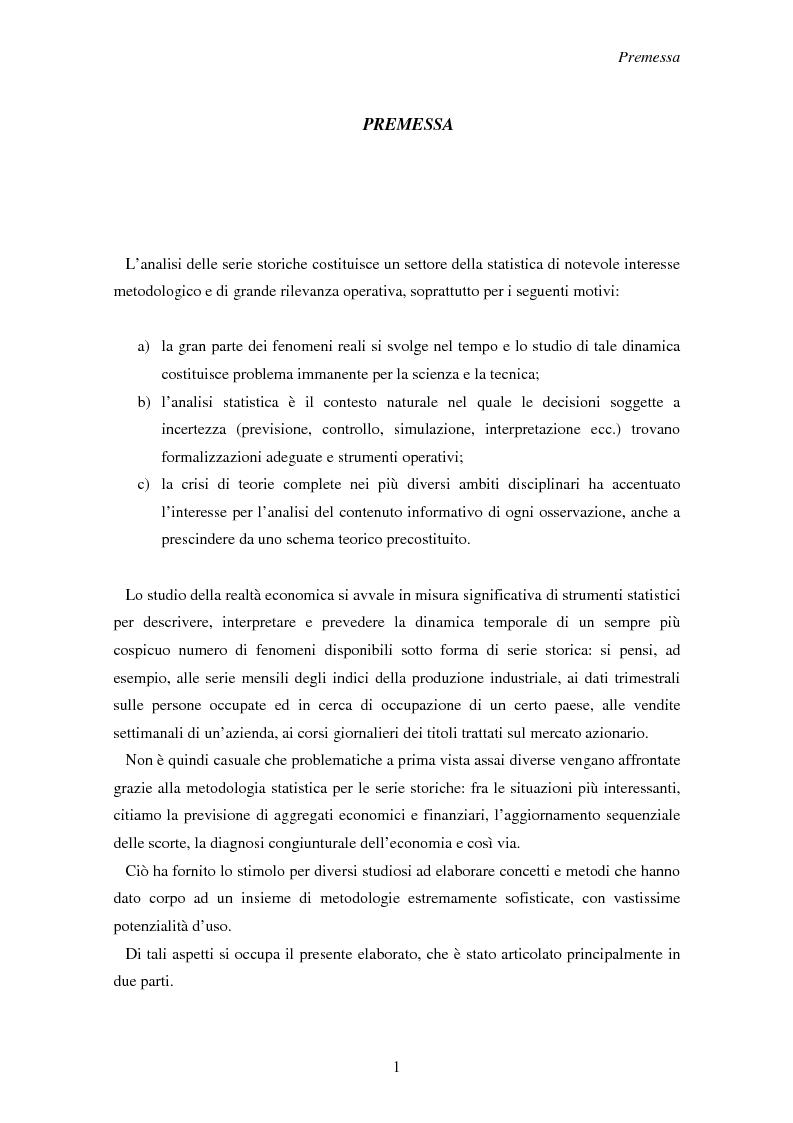 Anteprima della tesi: La previsione delle serie storiche economiche, Pagina 1