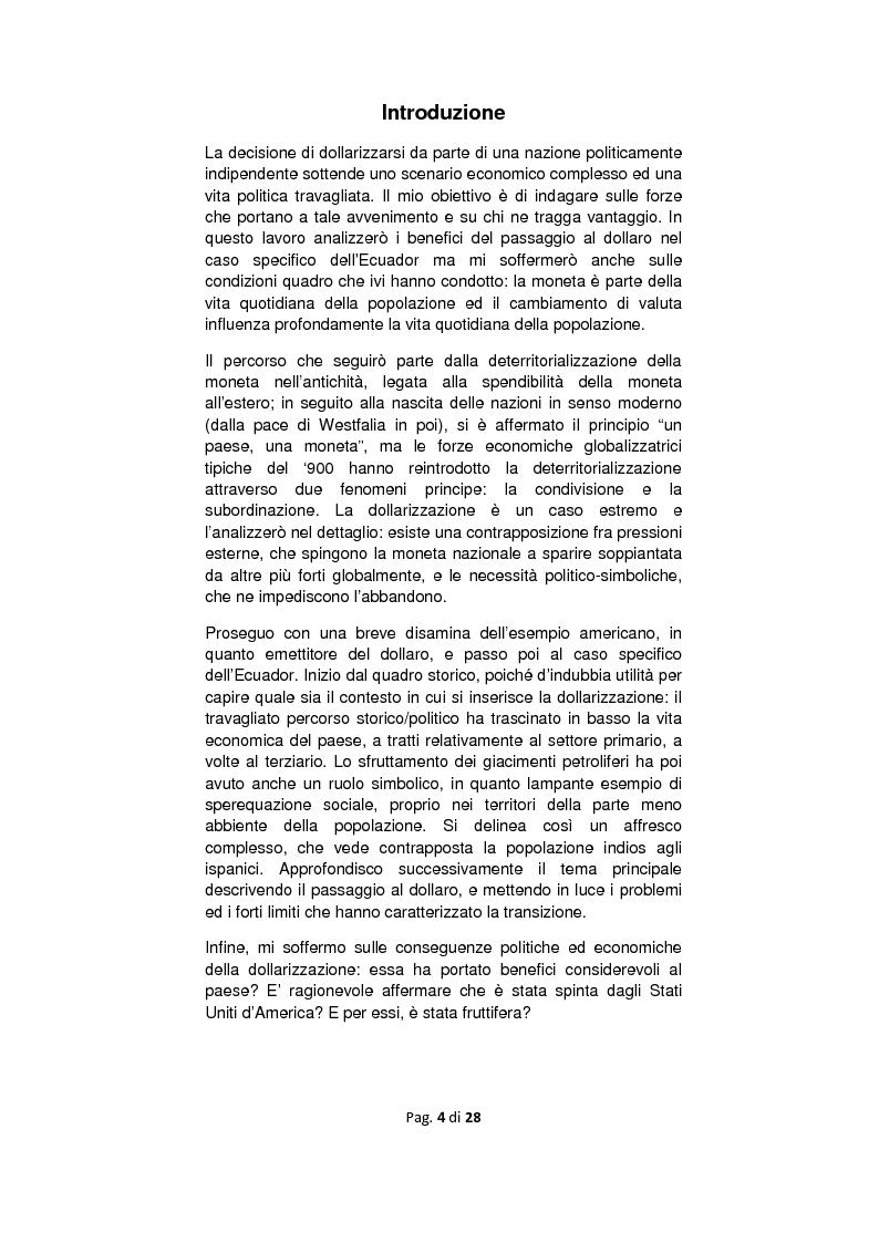 Anteprima della tesi: Dollarizzazione: quali benefici? Il caso Ecuador, Pagina 1