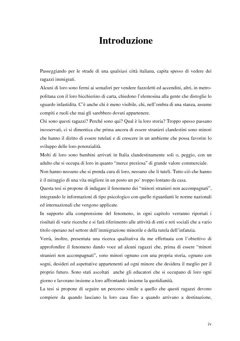 Anteprima della tesi: I minori stranieri non accompagnati: un'analisi delle condizioni tra marginalità e integrazione, Pagina 1