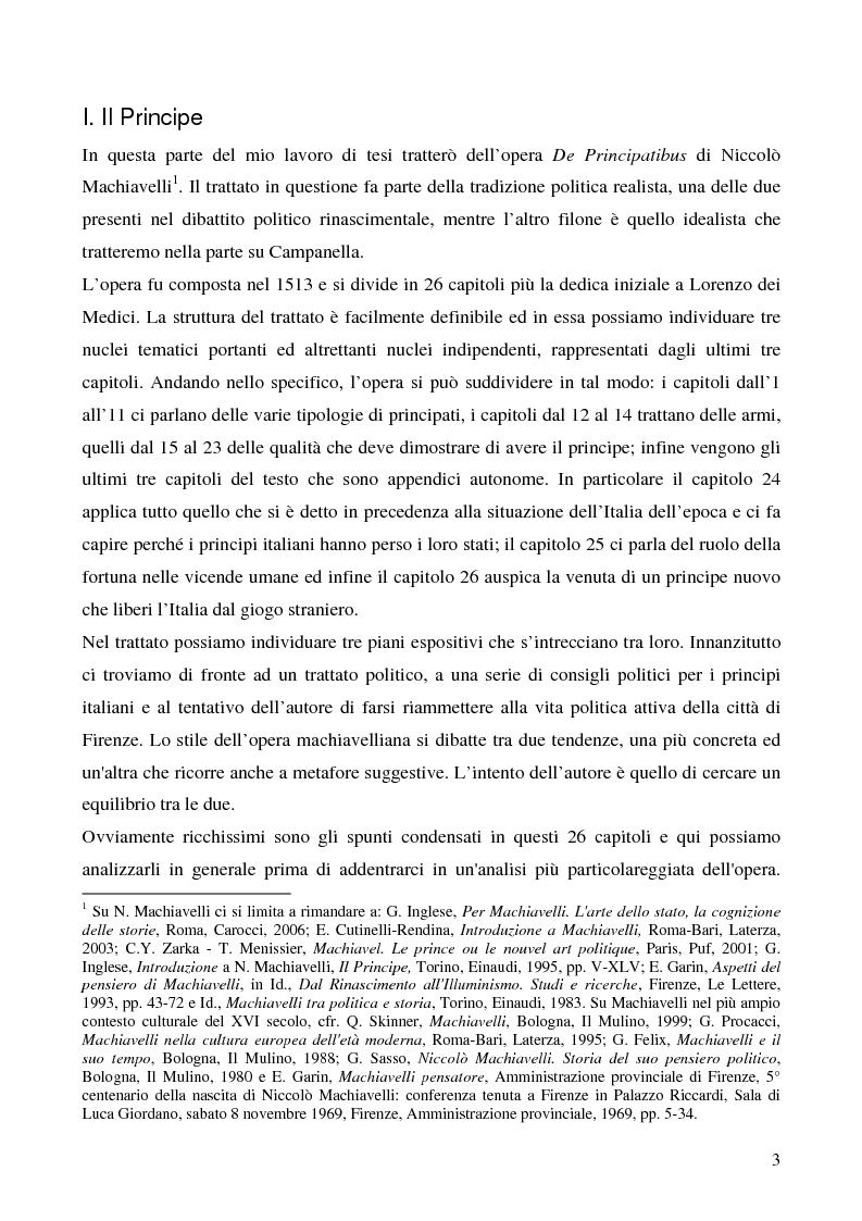 Anteprima della tesi: Politica e utopia tra Machiavelli e Campanella, Pagina 2