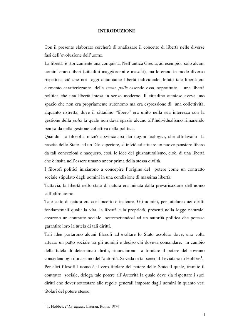 Anteprima della tesi: Dalla libertà al proibizionismo - Aspetti filosofici, politici e sociali, Pagina 1