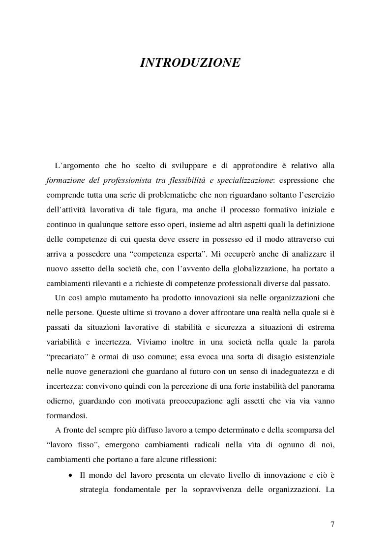 La formazione del professionista: tra flessibilit� e specializzazione - Tesi di Laurea