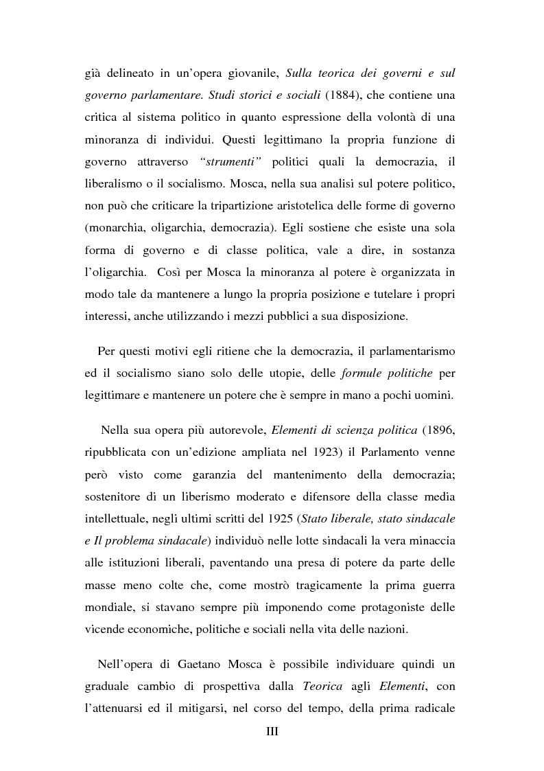 Anteprima della tesi: Elitismo nel pensiero di Gaetano Mosca, Pagina 3