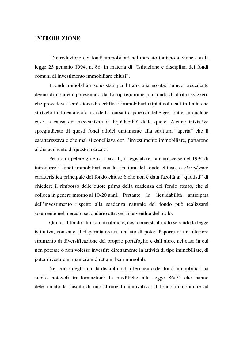 I fondi immobiliari ad apporto pubblico - Tesi di Laurea