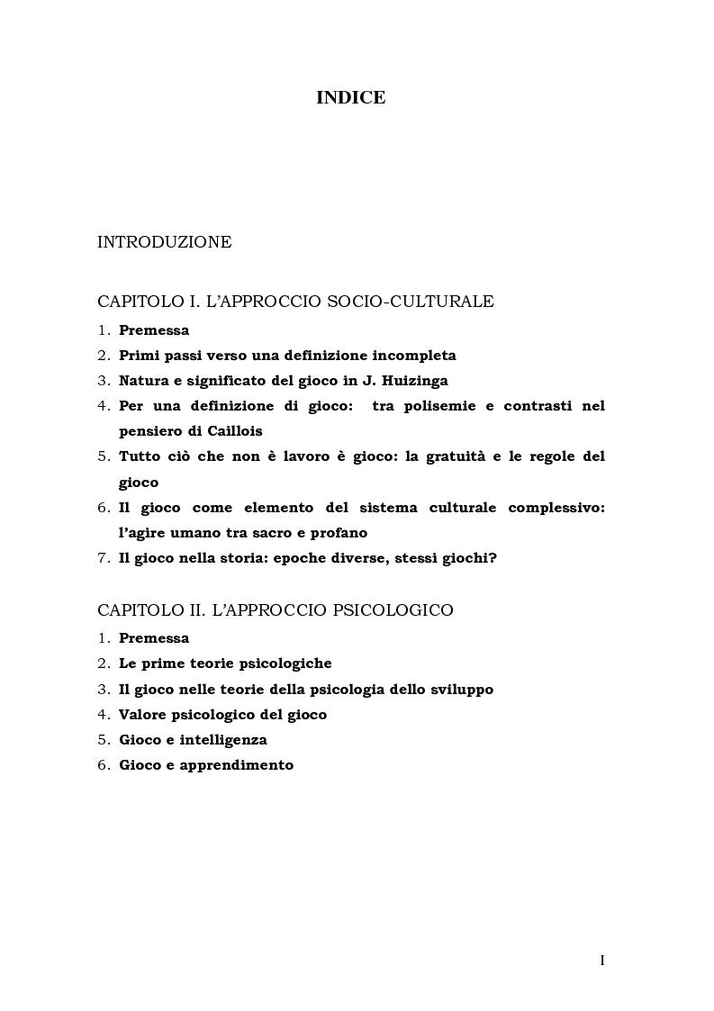 Indice della tesi: Quando il gioco diventa apprendimento, Pagina 1