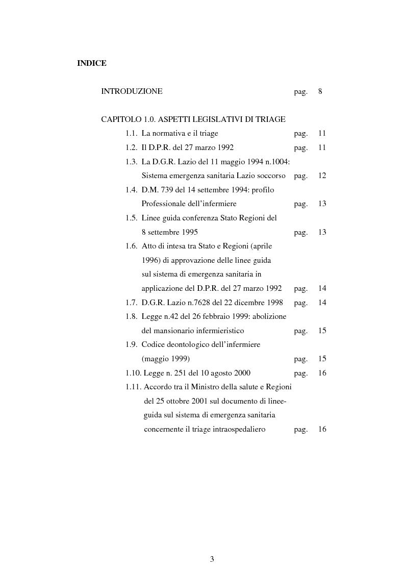 Indice della tesi: Strategie organizzative di applicazione dei protocolli di triage attraverso un'indagine conoscitiva nei pronto soccorsi del Lazio. Ruolo dell'infermiere dirigente., Pagina 1