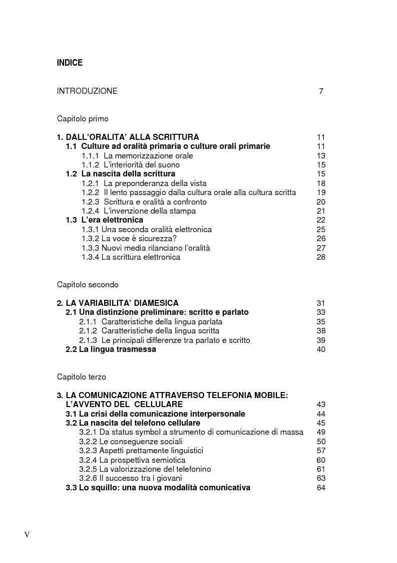 Indice della tesi: La comunicazione via SMS: un ritorno alla scrittura nell'era dell'oralità, Pagina 1