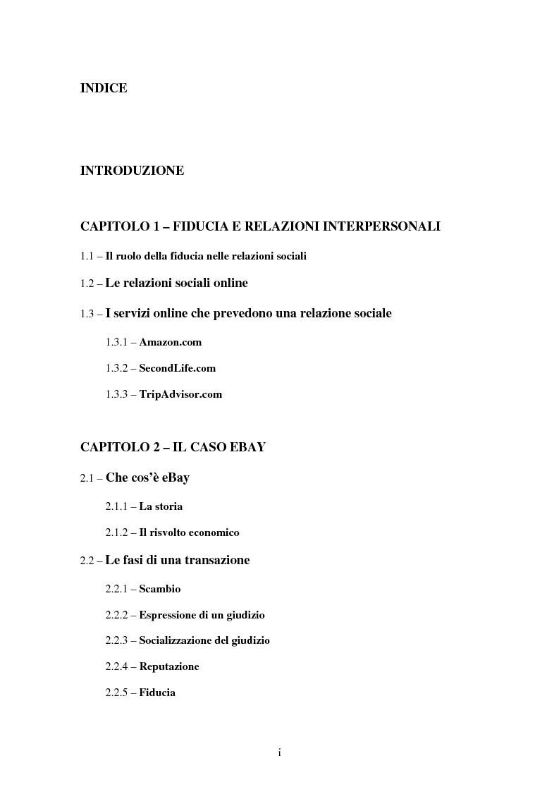 Indice della tesi: Il ruolo della fiducia nei rapporti interpersonali e il caso eBay, Pagina 1