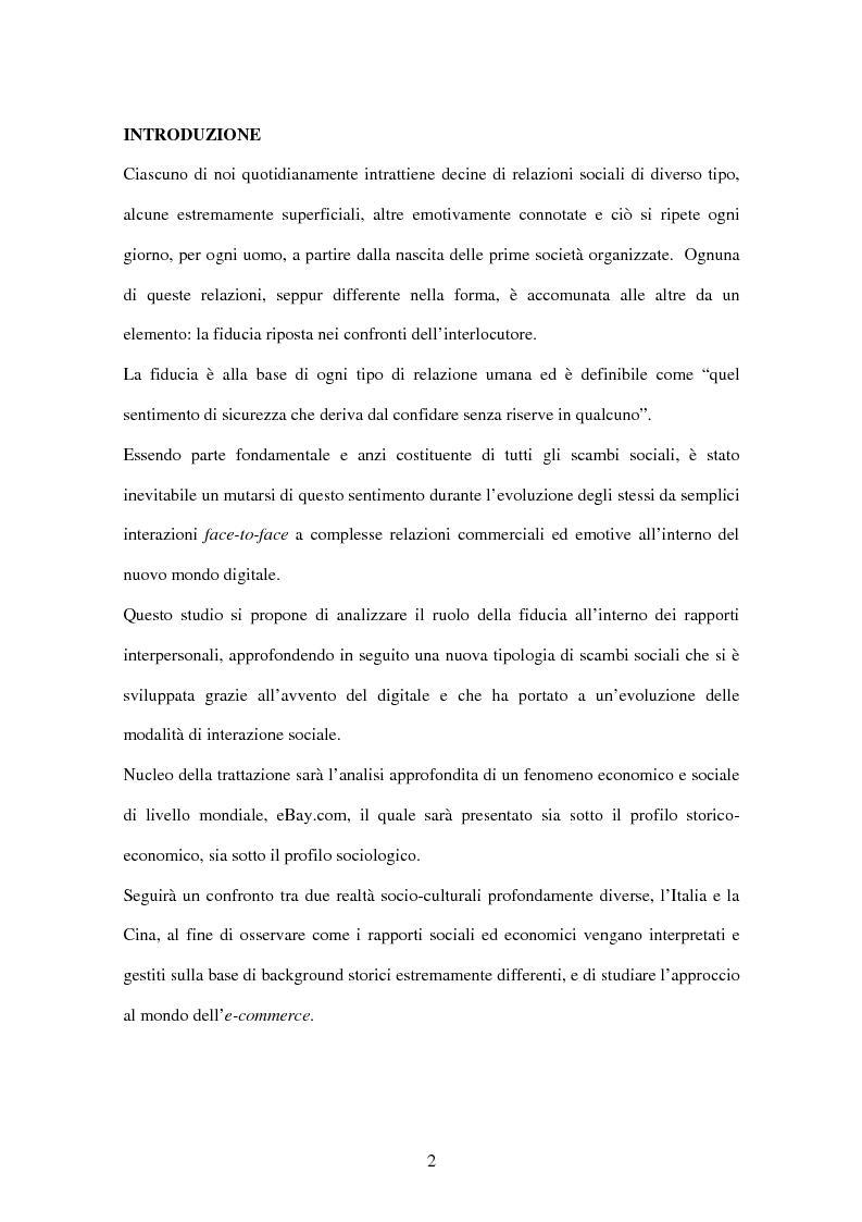 Anteprima della tesi: Il ruolo della fiducia nei rapporti interpersonali e il caso eBay, Pagina 1