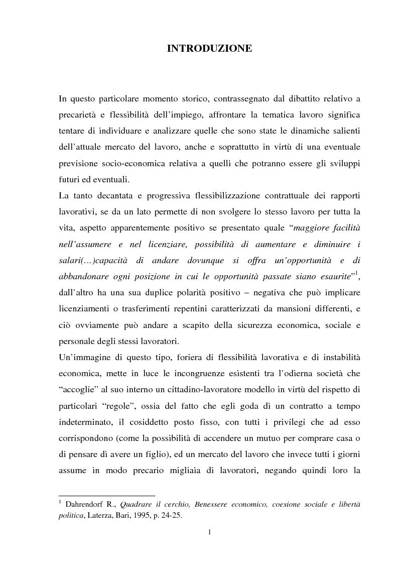 Anteprima della tesi: Accesso al lavoro: tra precarietà e mercato, Pagina 1