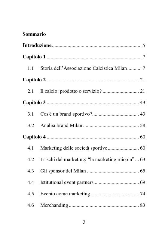 Indice della tesi: Comunicazione e marketing di un football club: l'ac Milan, Pagina 1