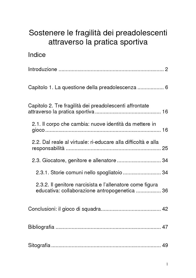 Indice della tesi: Sostenere le fragilità dei preadolescenti attraverso la pratica sportiva, Pagina 1