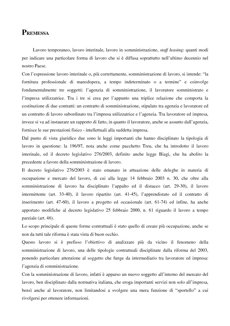 La somministrazione di lavoro: la prospettiva dell'agenzia - Tesi di Laurea