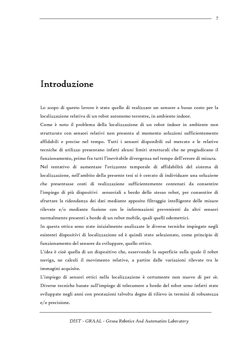 Anteprima della tesi: Sensore ottico odometrico per applicazioni di robotica mobile, Pagina 1