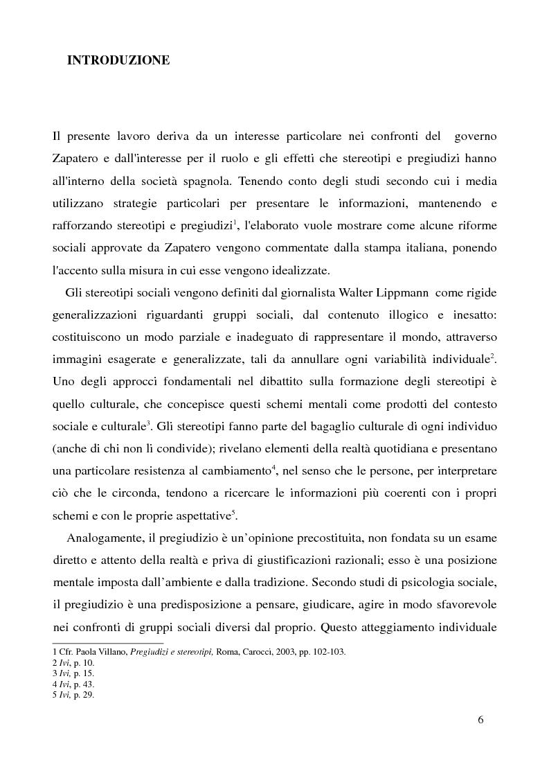 Anteprima della tesi: La Spagna di Zapatero sulla stampa italiana: stereotipi e idealizzazioni, Pagina 1