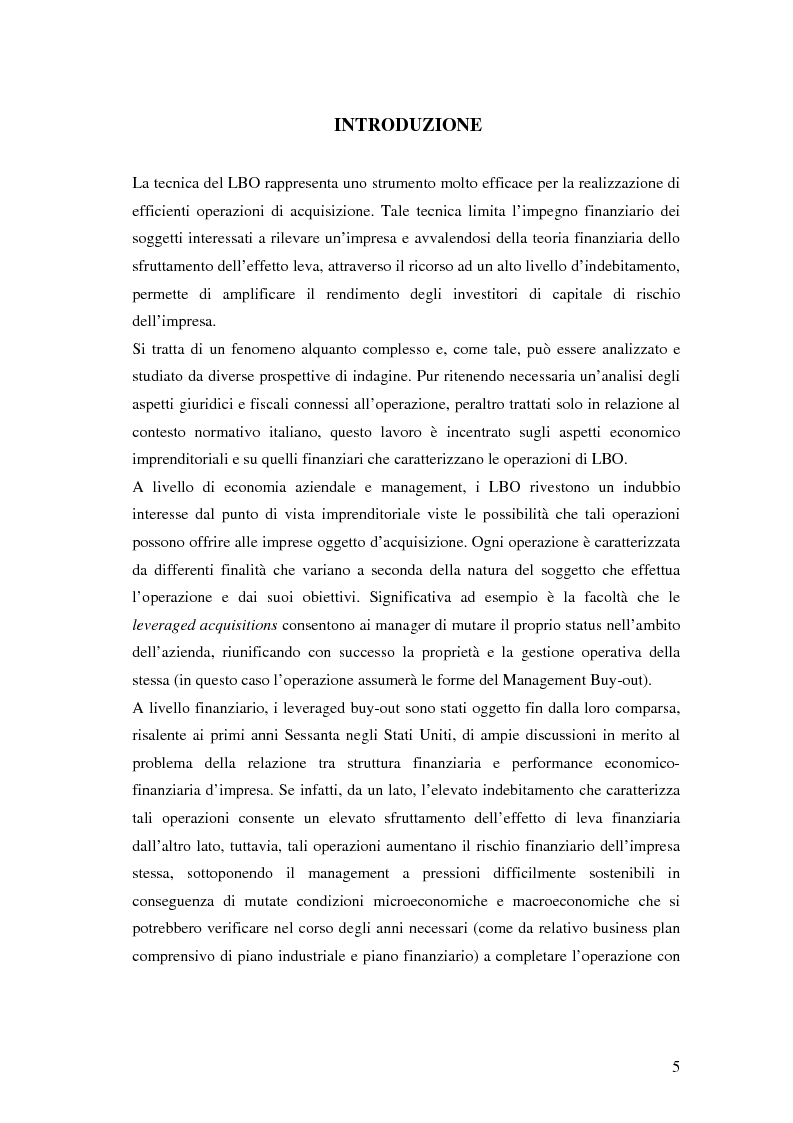 Il LBO: analisi dei fattori critici di successo - Tesi di Laurea
