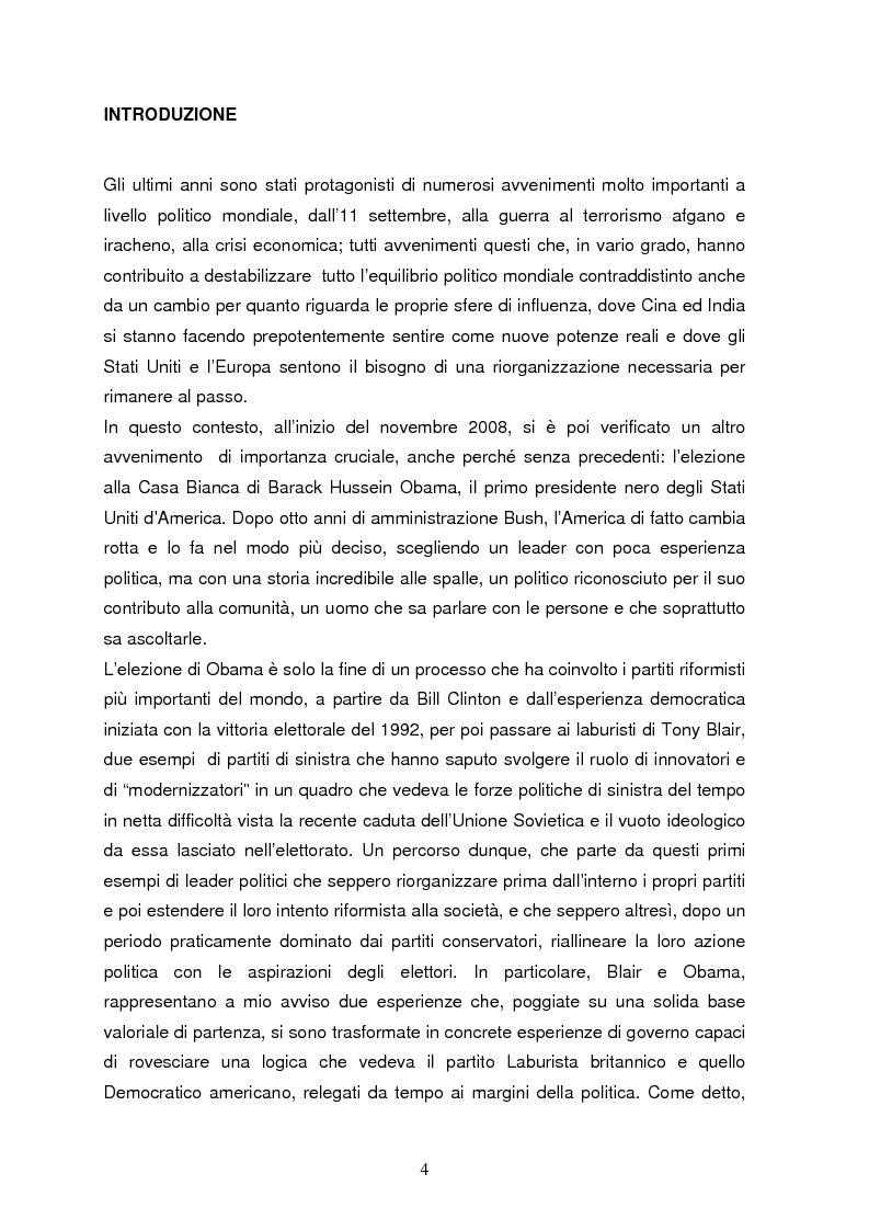 Anteprima della tesi: La comunicazione politica riformista dai ''modernisers'' di Blair al ''presidente yuotube'': la vittoria di Obama, Pagina 1