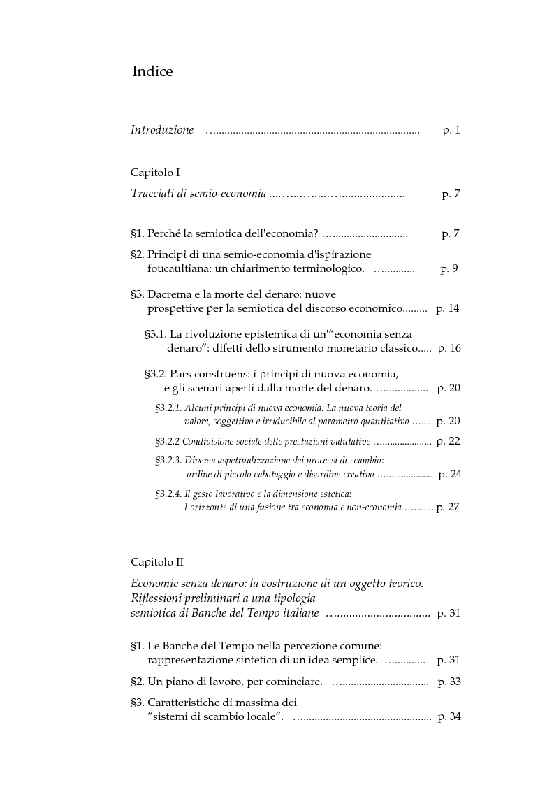 Indice della tesi: Economie senza denaro. Una tipologia semiotica di Banche del Tempo, Pagina 1