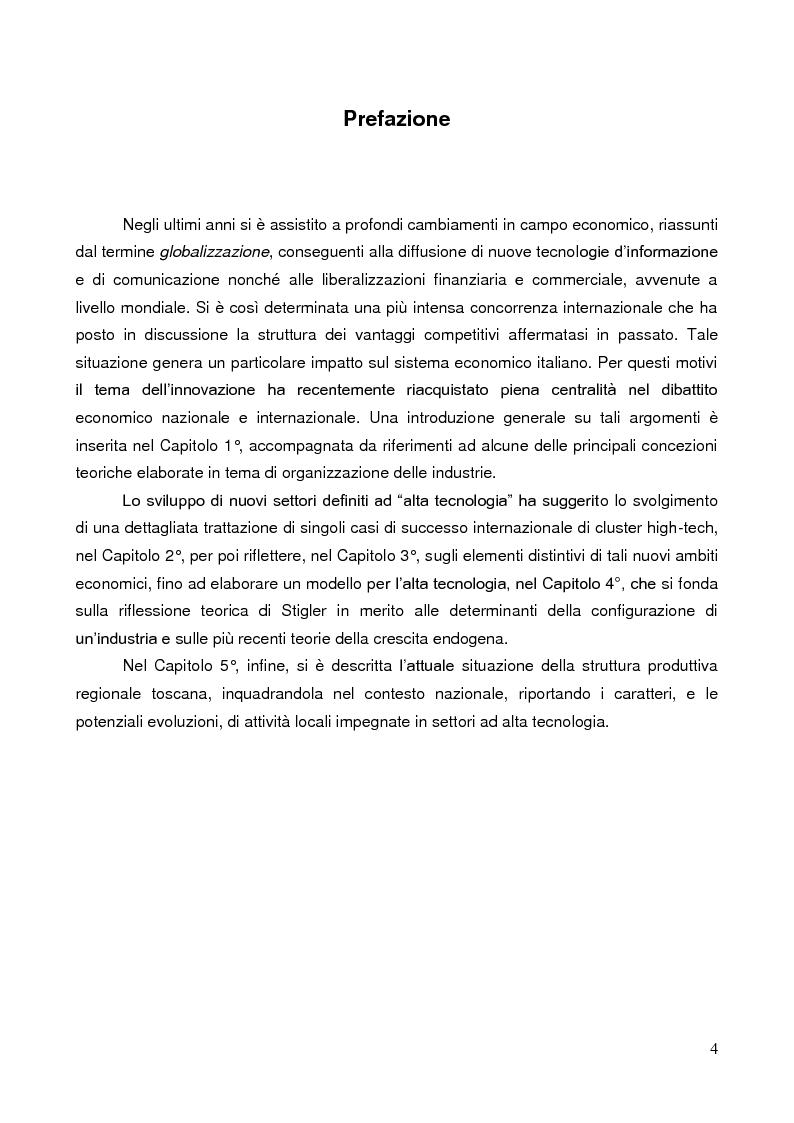 Anteprima della tesi: Sistemi di produzione locali e alta tecnologia: teorie, politiche e applicazioni con particolare riferimento al caso Toscana, Pagina 1