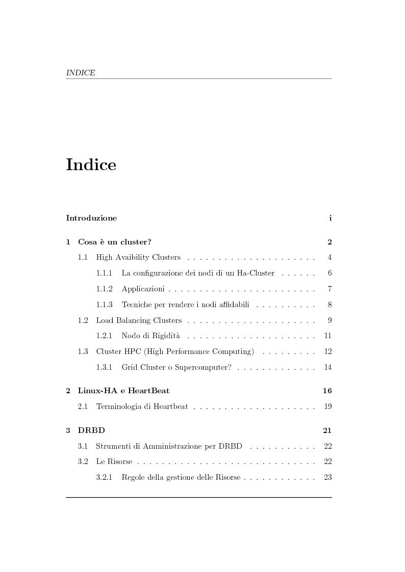 Indice della tesi: Analisi ed implementazione di un cluster di failover in ambiente Linux, Pagina 1