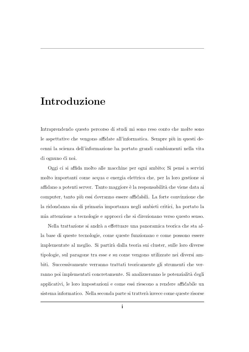 Anteprima della tesi: Analisi ed implementazione di un cluster di failover in ambiente Linux, Pagina 1