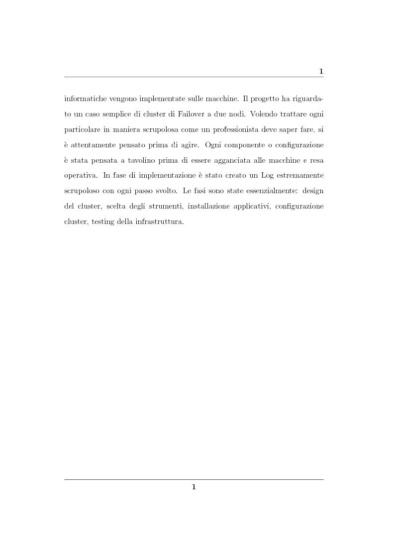 Anteprima della tesi: Analisi ed implementazione di un cluster di failover in ambiente Linux, Pagina 2