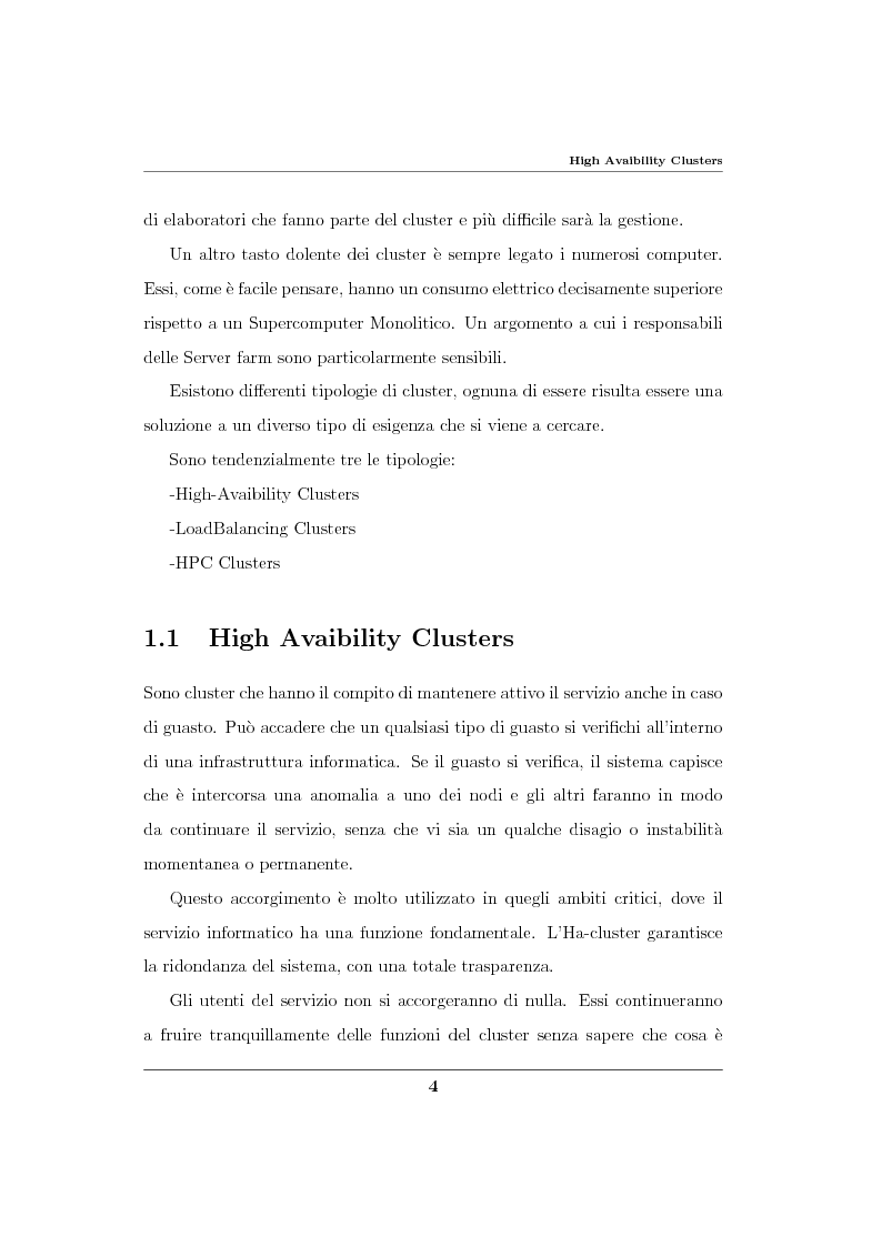 Anteprima della tesi: Analisi ed implementazione di un cluster di failover in ambiente Linux, Pagina 5
