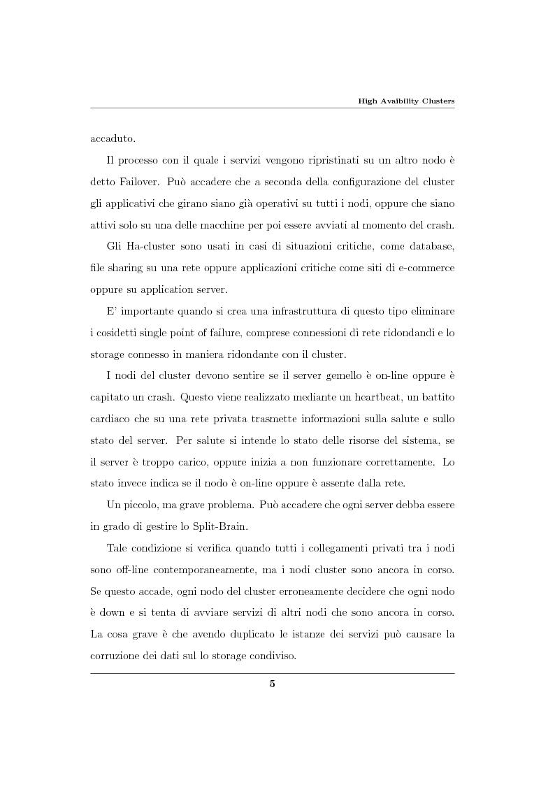 Anteprima della tesi: Analisi ed implementazione di un cluster di failover in ambiente Linux, Pagina 6