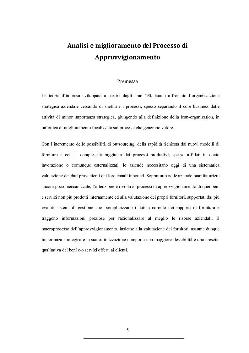 Analisi e miglioramento del processo di approvvigionamento - Caso ...