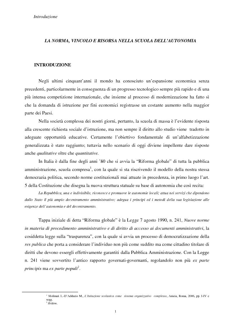 La norma, vincolo e risorsa nella scuola dell'autonomia - Tesi di Laurea
