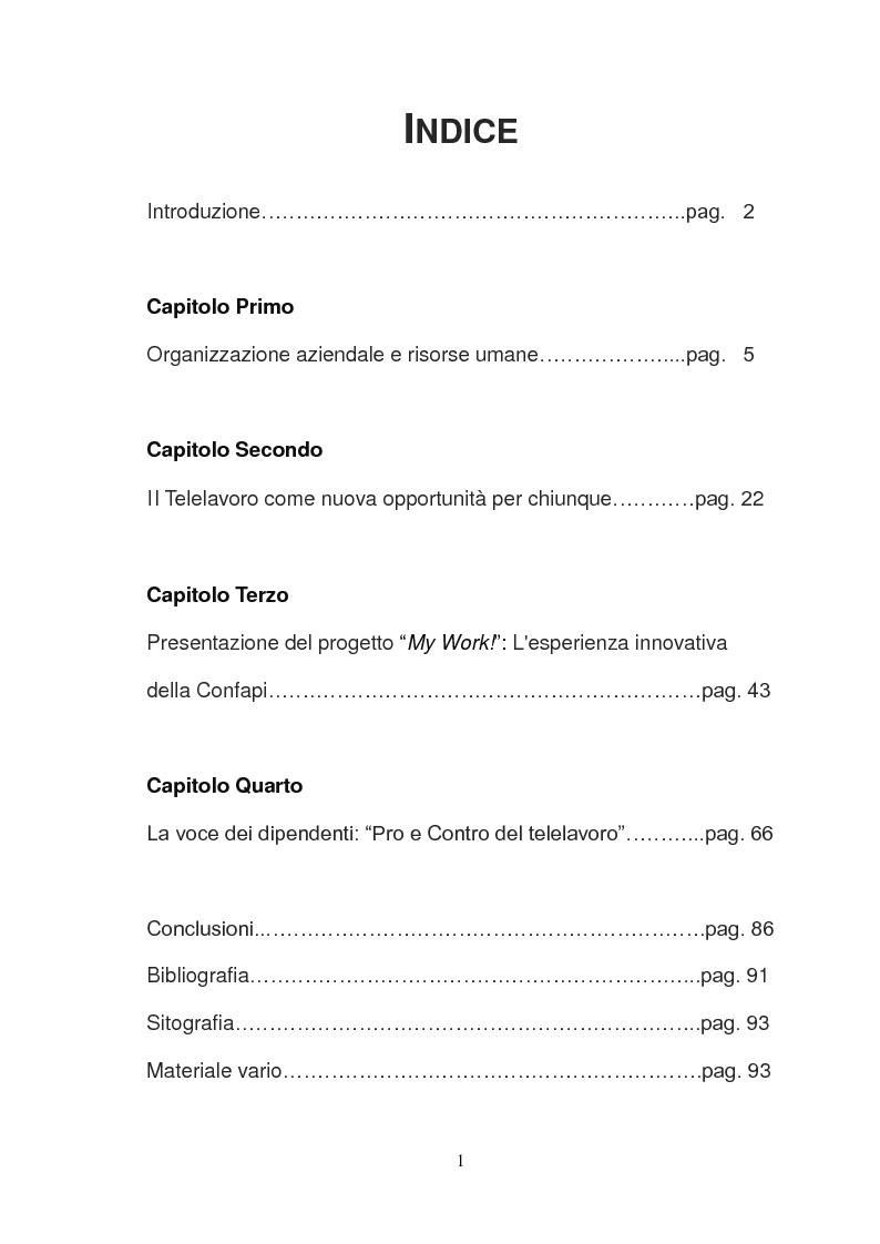 Indice della tesi: My Work: un'esperienza di telelavoro, Pagina 1
