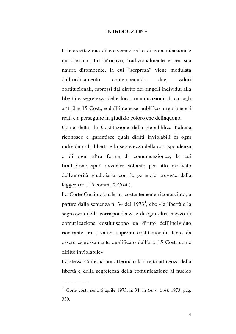 Anteprima della tesi: Intercettazioni telefoniche e diritto di informazione, Pagina 1