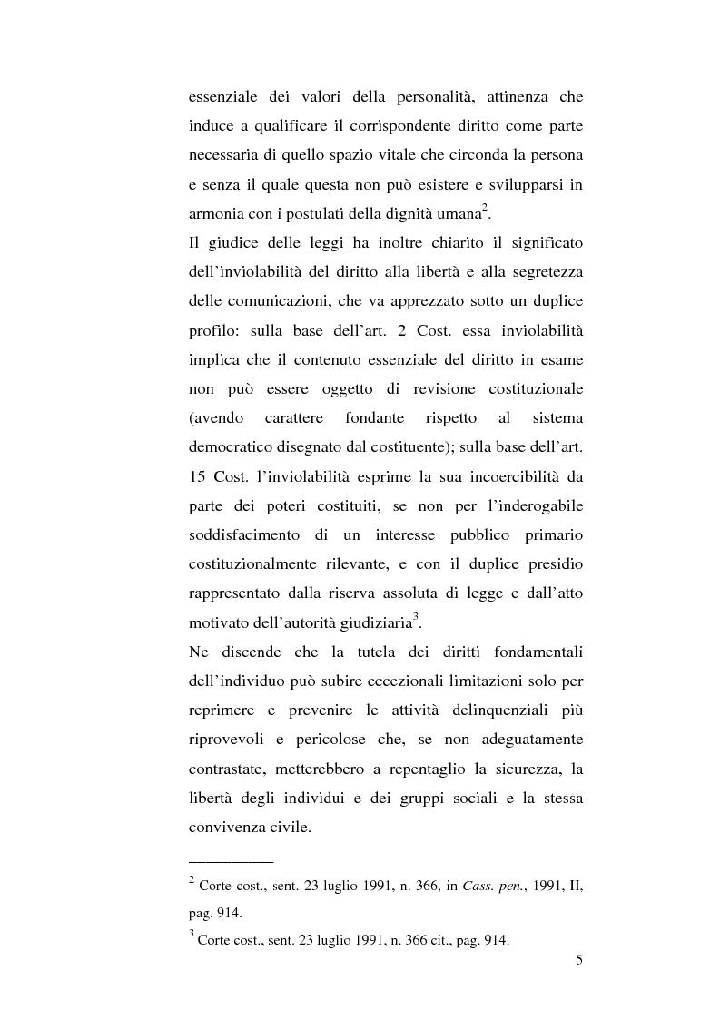 Anteprima della tesi: Intercettazioni telefoniche e diritto di informazione, Pagina 2
