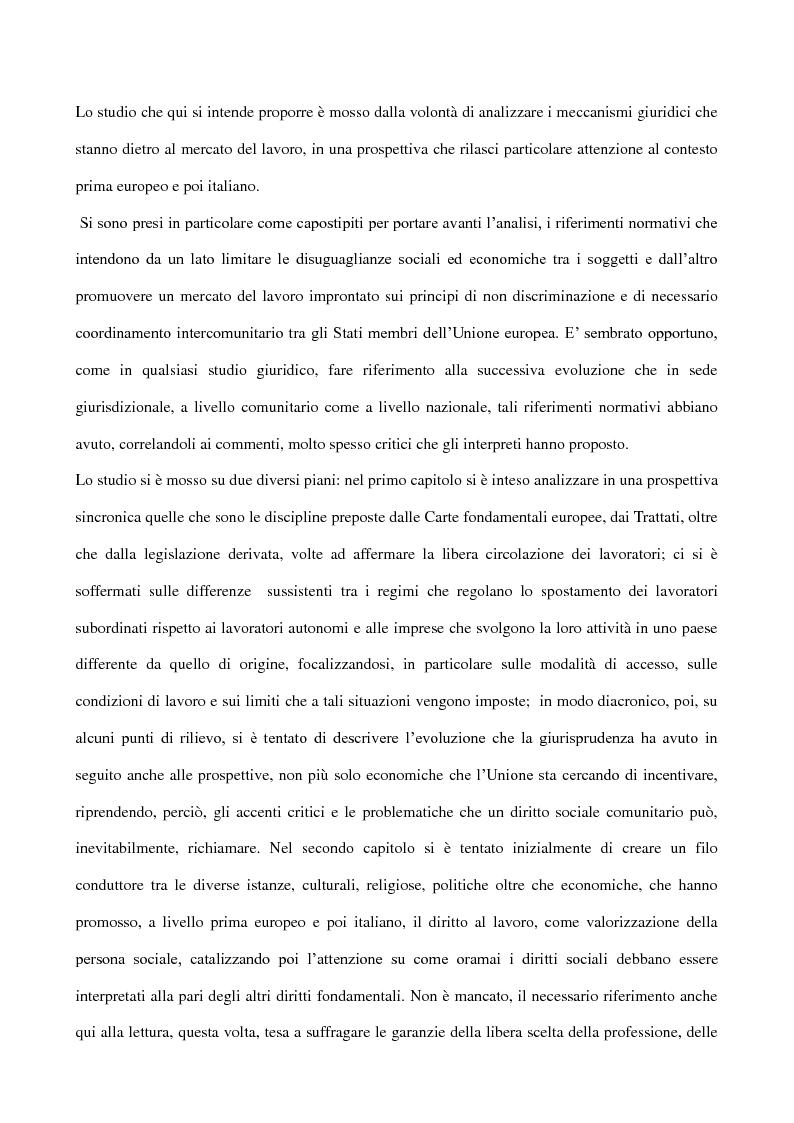 Anteprima della tesi: La libera scelta della professione all'interno dell'Unione Europea e nell'ordinamento italiano, Pagina 1