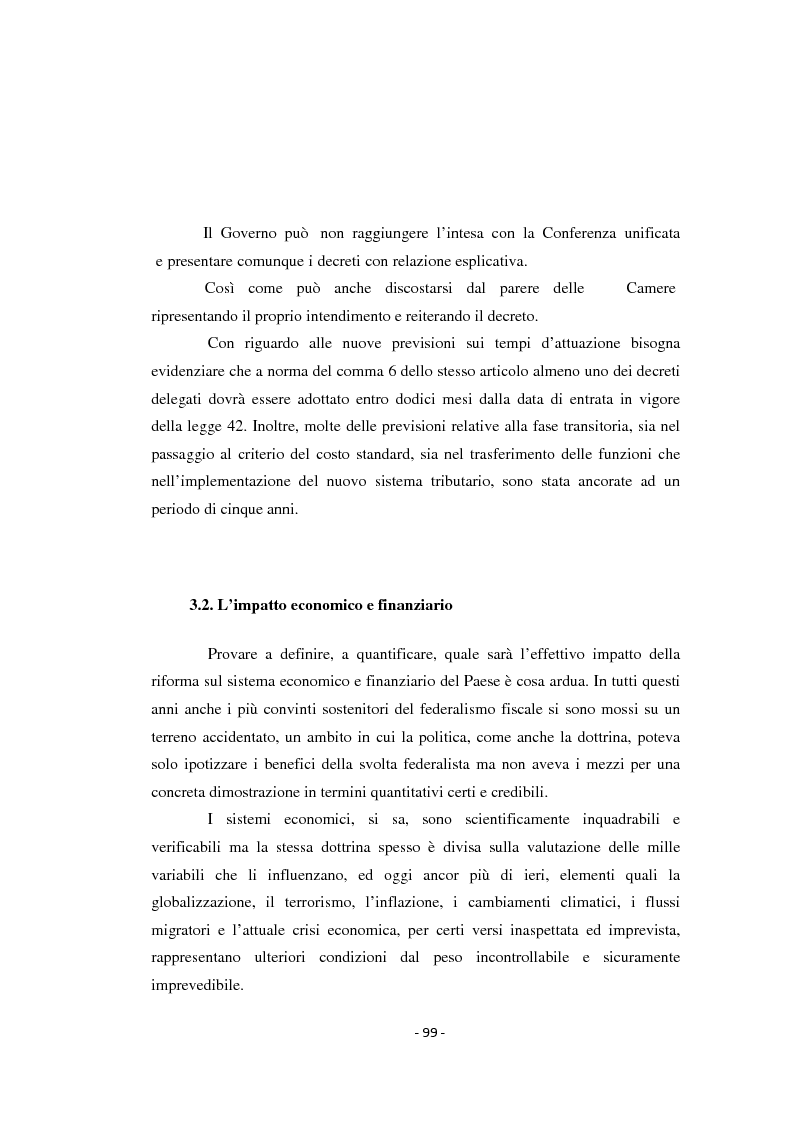 I riflessi del federalismo fiscale sulla finanza locale - Tesi di Laurea