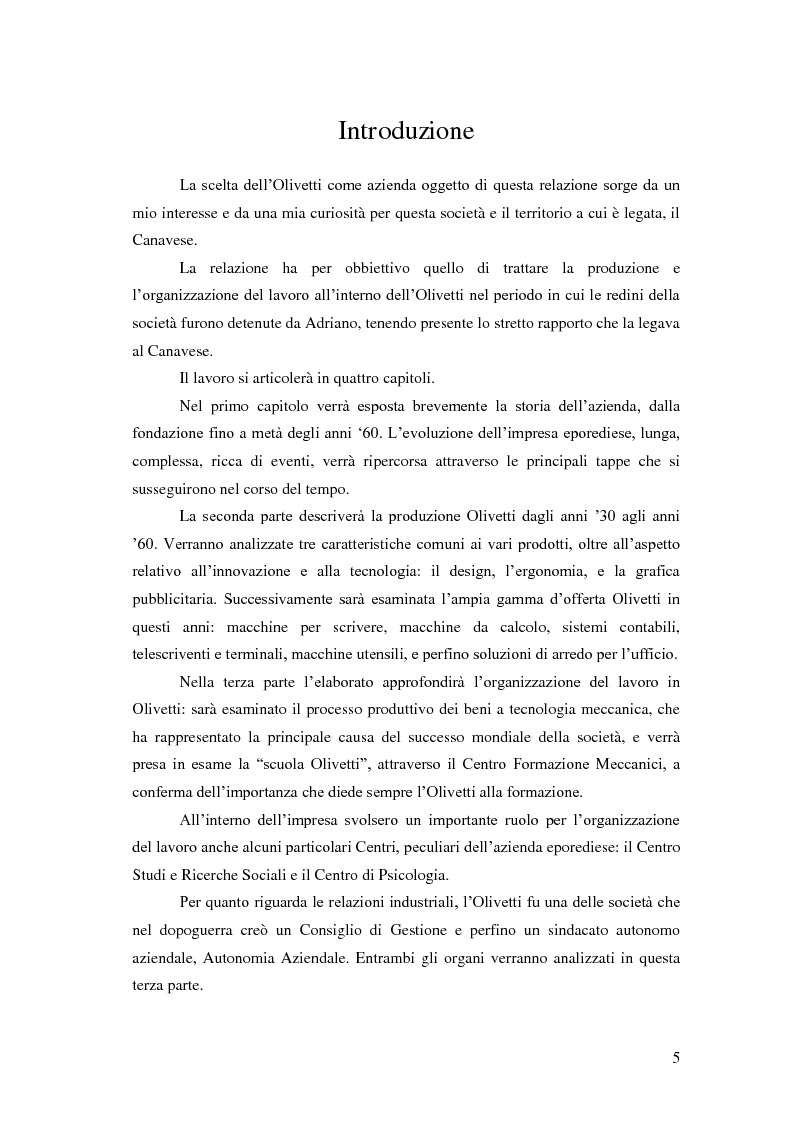 Produzione e organizzazione del lavoro in Olivetti dagli anni '30 agli anni ?50 - Tesi di Laurea