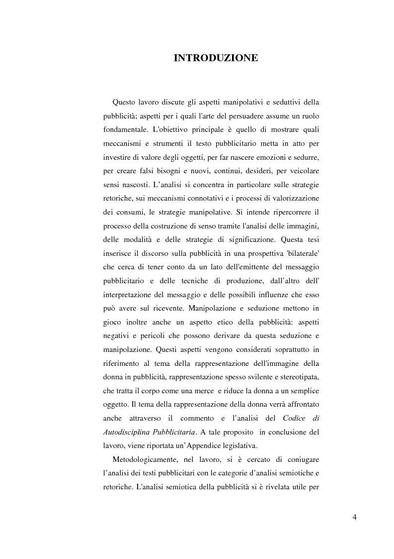 Anteprima della tesi: Le vie della persuasione. Parole, immagini e le fabbriche del desiderio, Pagina 1