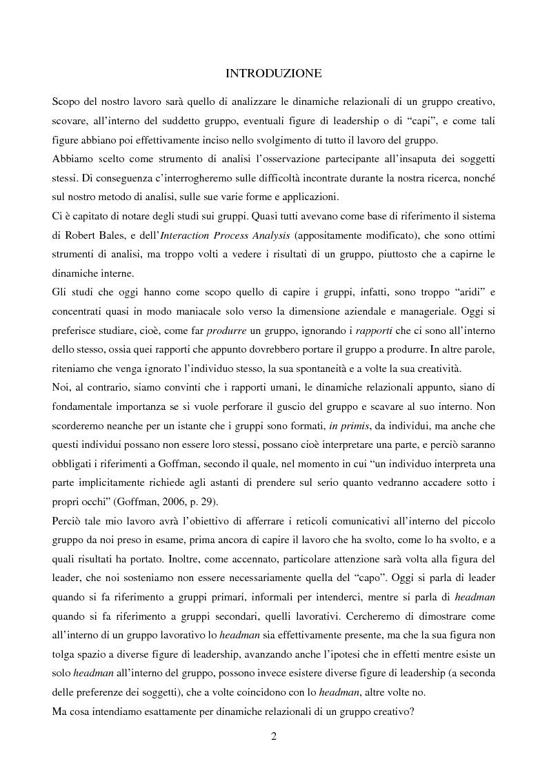 """Anteprima della tesi: Dinamiche relazionali del gruppo creativo: il caso """"Spaghetti Spin Doctors"""", Pagina 1"""