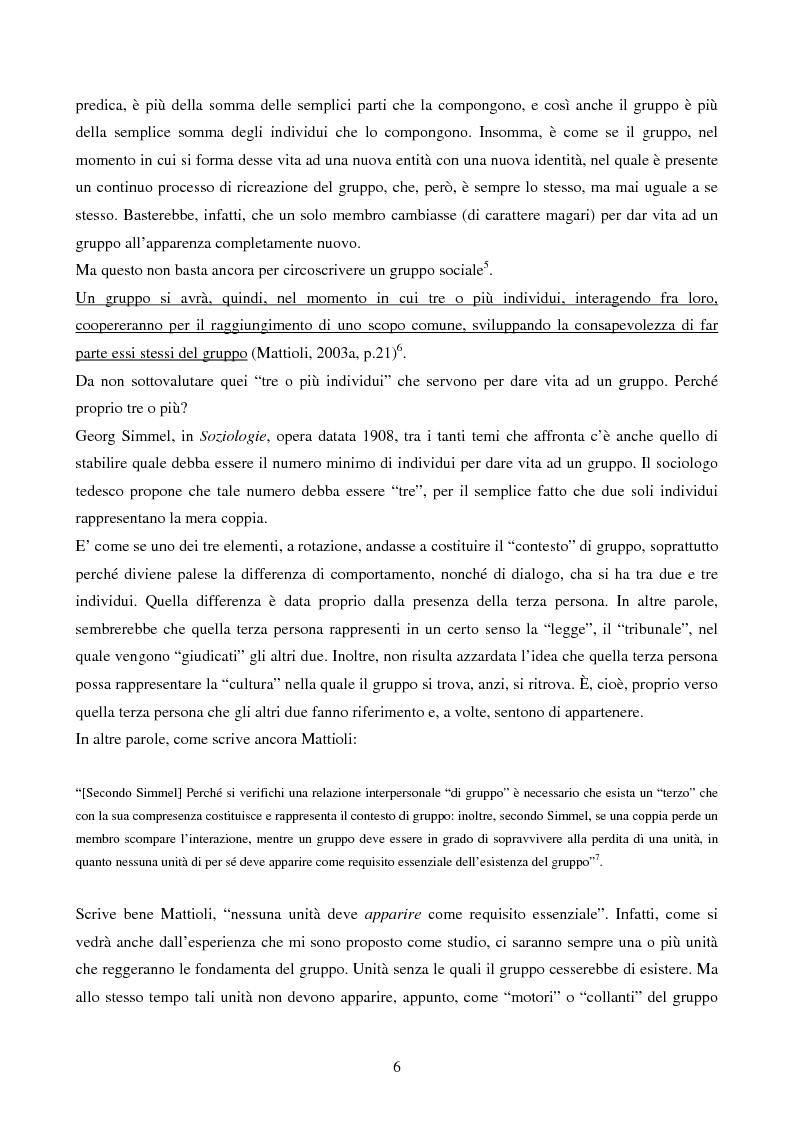 """Anteprima della tesi: Dinamiche relazionali del gruppo creativo: il caso """"Spaghetti Spin Doctors"""", Pagina 5"""