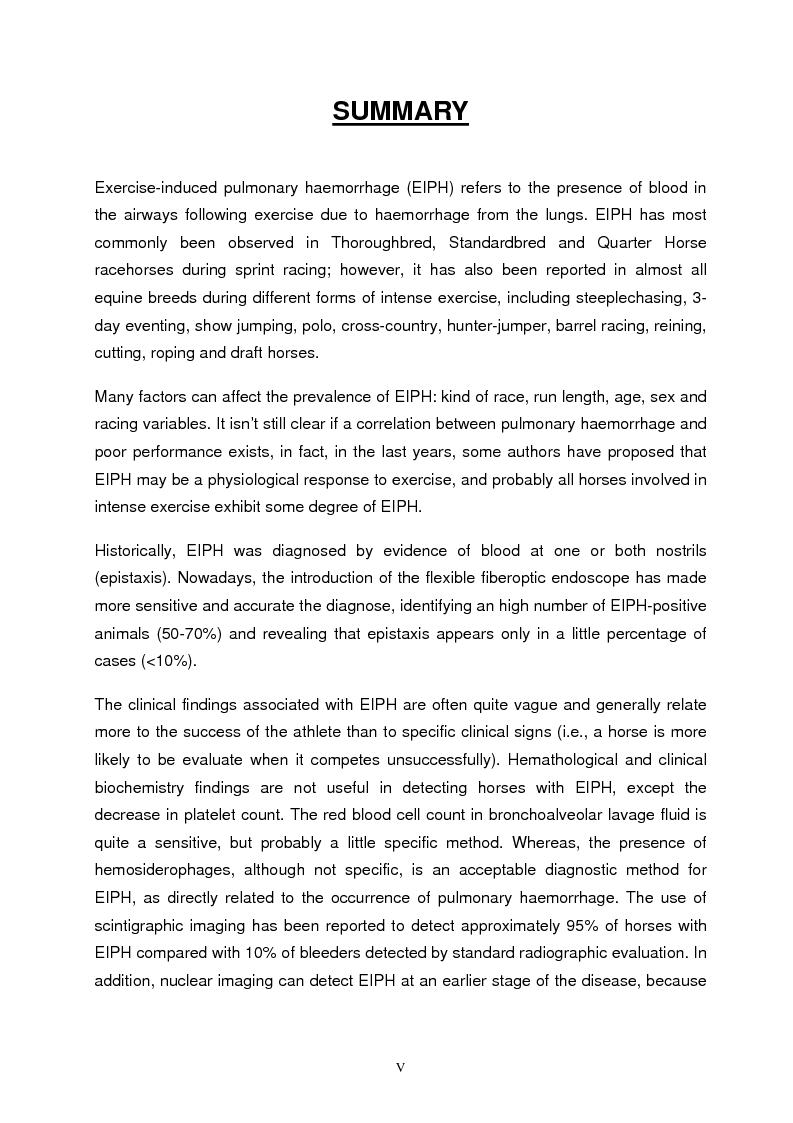 Anteprima della tesi: Emorragia polmonare da sforzo nel cavallo sportivo con particolare riferimento all'effetto sulle performance atletiche, Pagina 1