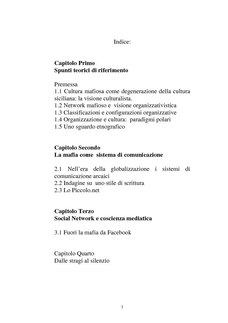 Indice della tesi: Sistemi comunicativi all'interno di Cosa Nostra, Pagina 1