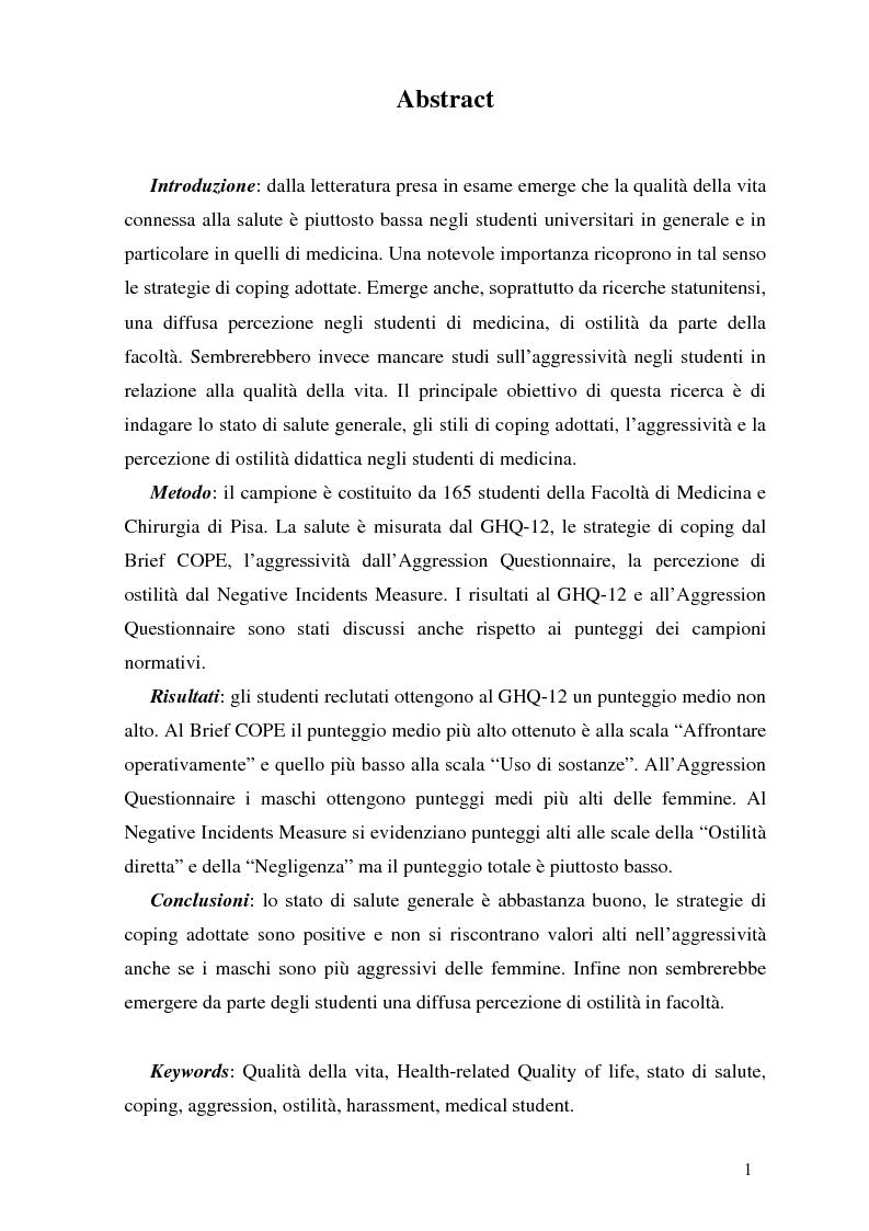 Anteprima della tesi: Qualità della vita e strategie di coping in un gruppo di studenti di medicina, Pagina 1