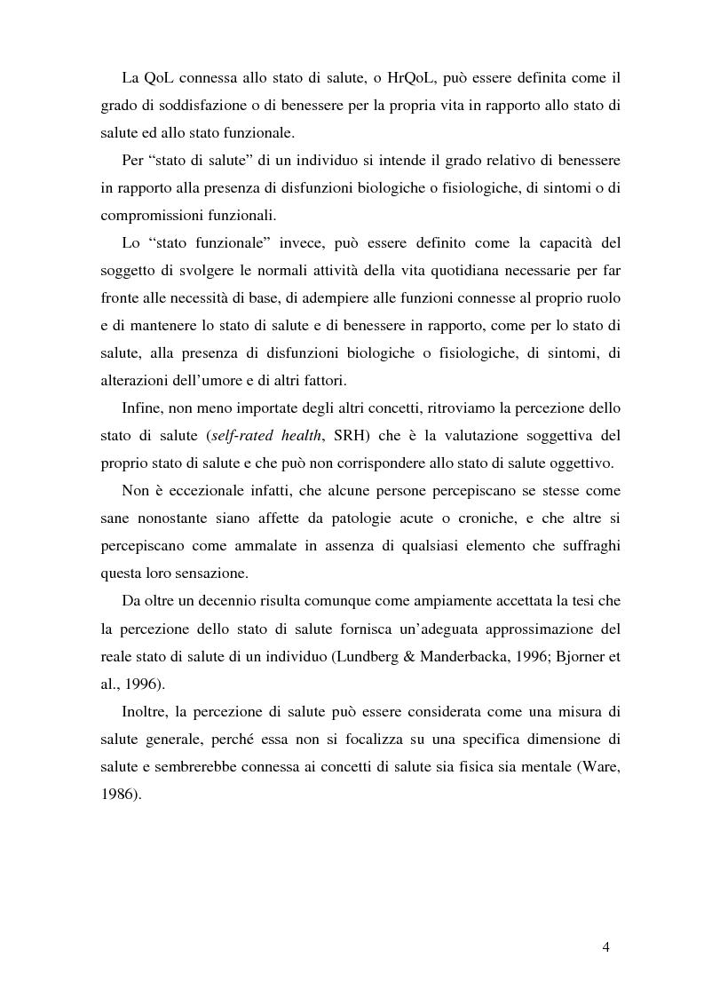 Anteprima della tesi: Qualità della vita e strategie di coping in un gruppo di studenti di medicina, Pagina 4