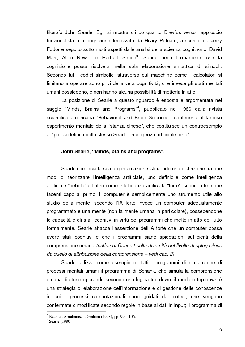 Anteprima della tesi: La discussione iniziale sulla ''stanza cinese'' di Searle, Pagina 4