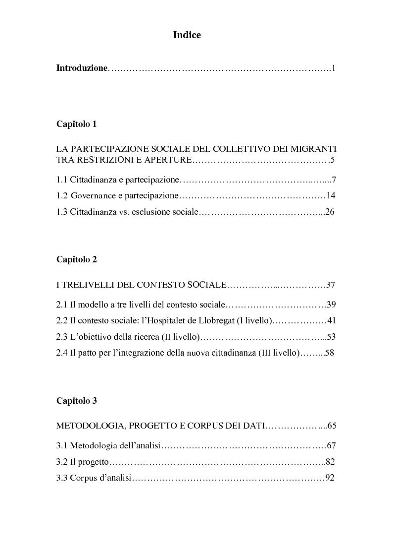 """Indice della tesi: Il """"Pacto para la integración de la nueva ciudadanía"""" ne l'Hospitalet de Llobregat: costruzione discorsiva del ruolo della donna e delle ragioni della migrazione, Pagina 1"""